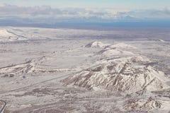 Montagna di inverno dell'Islanda di vista aerea Fotografia Stock