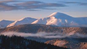 Montagna di inverno di Goverla in neve ad alba fotografia stock libera da diritti