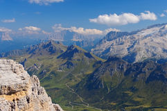 Montagna di Marmolada con il ghiacciaio Fotografia Stock