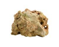 Montagna di pietra della roccia isolata su fondo bianco Immagini Stock