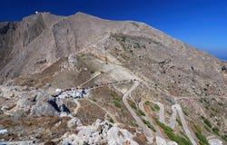 Montagna di Profitis Elias, Santorini Immagini Stock