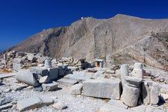 Montagna di Profitis Elias, Thira antico, Santorini Fotografia Stock