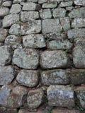 Montagna di Sigiriya, foto del muro di mattoni vicino, fondo, struttura immagini stock libere da diritti