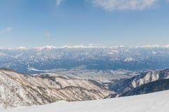 Montagna di Snowy delle alpi centrali del Giappone Immagini Stock Libere da Diritti