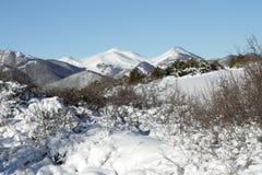 Montagna di Snowy in Donezan, Pirenei fotografia stock