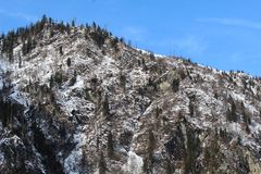 Montagna di Snowy in Kaprun Immagini Stock