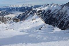 Montagna di Snowy in Kaprun Fotografia Stock Libera da Diritti