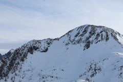 Montagna di Snowy in Kaprun Immagine Stock