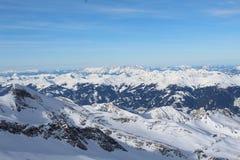 Montagna di Snowy in Kaprun Fotografia Stock