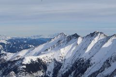 Montagna di Snowy in Kaprun Immagini Stock Libere da Diritti