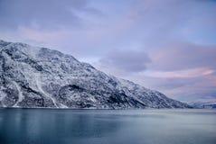 Montagna di Snowy oltre il mare Fotografia Stock