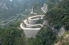 Montagna di TianMen di upou della strada Fotografia Stock Libera da Diritti
