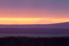 Montagna di tramonto Fotografia Stock