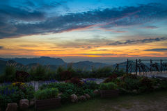Montagna di vista di paesaggio del balcone Fotografia Stock