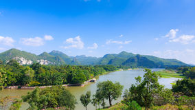 Montagna di vista superiore, kanchaburi Fotografie Stock