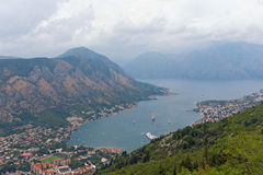 Montagna di Vrmac e baia di Cattaro montenegro Fotografia Stock Libera da Diritti