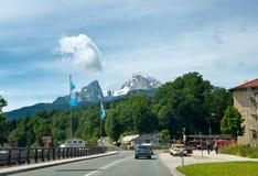 Montagna di Watzmann come visto da Berchtesgaden Fotografia Stock Libera da Diritti