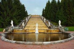 Montagna dorata della fontana di Peterhof Immagine Stock