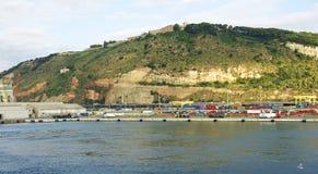 Montagna e bacini del castello di Montjuic Immagini Stock Libere da Diritti