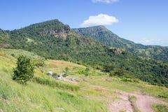 Montagna e cielo blu verdi Immagine Stock