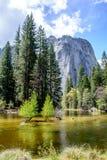 Montagna e fiume di Yosemite Immagine Stock