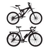 Montagna e visitare le siluette del nero di vettore delle bici illustrazione di stock