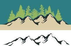 Montagna ed alberi Fotografie Stock