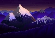 Montagna everest, anche panoramico con la vista di tramonto ed i picchi, paesaggio presto in una luce del giorno viaggio o accamp illustrazione vettoriale