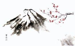 Montagna Fuji e Cherry Blossom illustrazione di stock