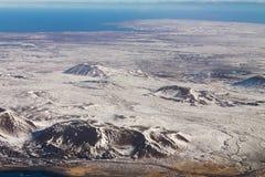 Montagna Islanda di stagione invernale di vista aerea Immagine Stock Libera da Diritti