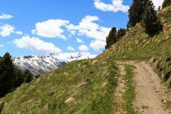 Montagna Monte Sobretta e percorso di escursione nelle alpi di Ortler Fotografia Stock Libera da Diritti