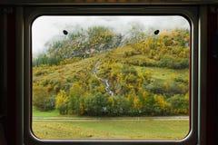 Montagna nebbiosa con le foglie cambianti Immagine Stock Libera da Diritti