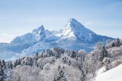 Montagna nell'inverno, Baviera, Germania di Watzmann Immagini Stock