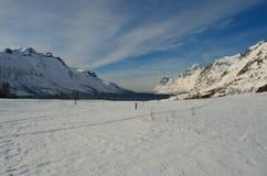 Montagna nevosa alta maestosa con cielo blu vibrante Fotografia Stock Libera da Diritti