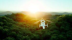 Montagna, paesaggio del campo con l'elicottero di volo Paesaggio tropicale Spedizione in giungla Siluetta dell'uomo Cowering di a illustrazione vettoriale