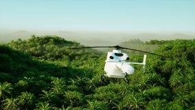 Montagna, paesaggio del campo con l'elicottero di volo Paesaggio tropicale Spedizione in giungla Siluetta dell'uomo Cowering di a royalty illustrazione gratis