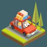 Montagna piana Forest Background Vector Illustration dell'icona di progettazione dell'automobile di viaggio della famiglia di con Immagini Stock
