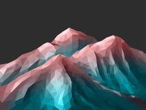 Montagna poligonale Rose Quartz Gradient Immagine Stock