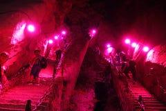 Montagna rampicante Huashan alla notte Fotografia Stock Libera da Diritti