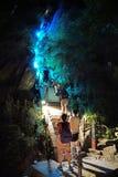 Montagna rampicante Huashan alla notte Fotografia Stock