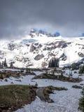 Montagna ricoperta neve con gli alberi in priorità alta Fotografia Stock