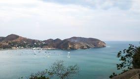 Montagna San Juan Del Sur Nicaragua delle barche di vista di oceano della spiaggia Fotografia Stock Libera da Diritti