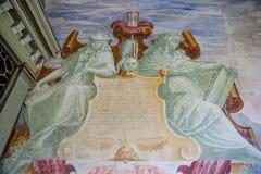 Montagna santa di Sacro Monte di Varallo in Piemonte Italia - pittura - patrimonio mondiale dell'Unesco fotografia stock libera da diritti