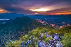 Montagna Scape di alba Fotografia Stock