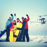 Montagna Ski Extreme Helicopter Concept degli Snowboarders Immagini Stock