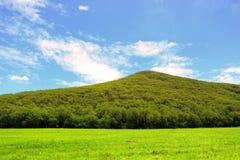 Montagna verde con cielo blu Immagine Stock