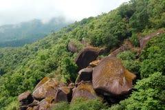 Montagna verde con la roccia di colore marrone scuro fotografia stock