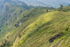 Montagna verde del paesaggio con il cielo e la nuvola del prato al 'chi' Fa Forest Park Thailand Zoom di Phu fotografia stock