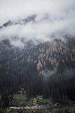 Montagna Vista superiore nella neve con nebbia, alpi italiane Fotografia Stock