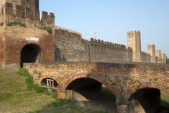 Montagnana (Italia) - pareti medioevali immagine stock libera da diritti